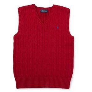 NEW Boys 7 Ralph Lauren Cable-Knit Sweater Vest